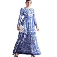 Faux Silk Chiffon Blue And White Porcelain Print Autumn Dresses Women Fashion Empire Long Sleeve Runway