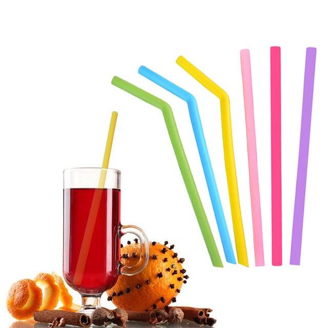 3 cái/lốc Tái Sử Dụng Uống Sinh Thái Thân Thiện Silicone Ống Hút với Bàn Chải Sạch Hơn Đối Với Trang Chủ Đảng Barware Phụ Kiện