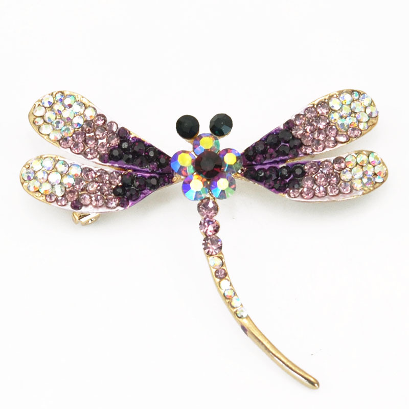 Adorable Purple Amethyst Clear Crystal Rhinestone Dragonfly Brooch Fashion Jewelry