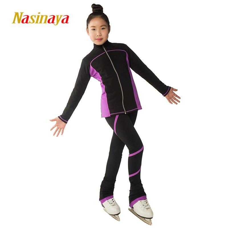 Costumes de patinage artistique personnalisés veste et pantalon Long pantalon pour fille femmes formation Patinaje patinage sur glace gymnastique chaude 18