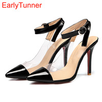 Sales 2017 Brand New Sweet Black Red Women Nude Sandals Apricot Fashion High Heel Lady Casual