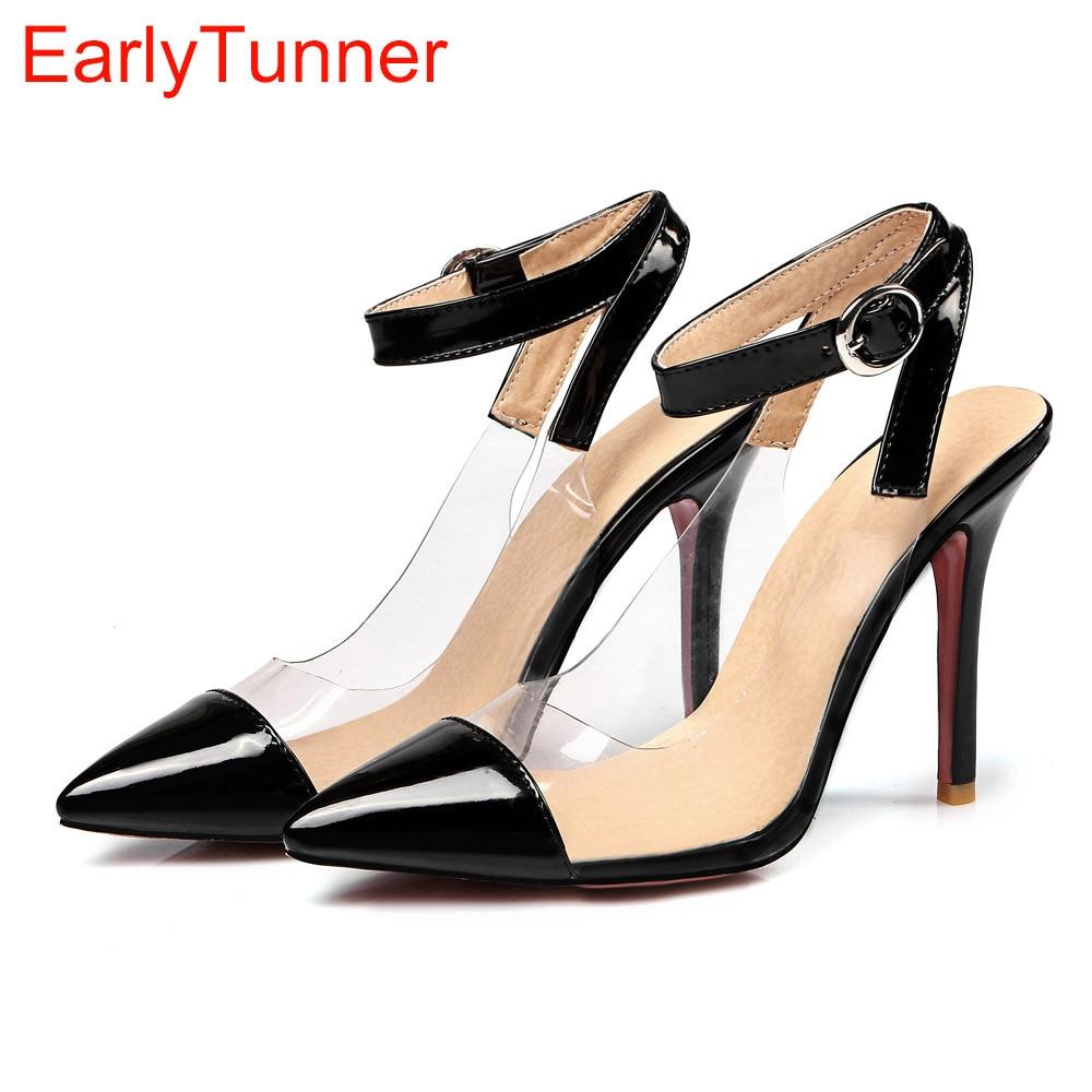 Sales 2017 Brand New Sweet Black Red Women <font><b>Nude</b></font> Sandals Apricot Fashion High Heel Lady Casual Shoes EM22 Plus Big <font><b>Size</b></font> <font><b>12</b></font> 31 47