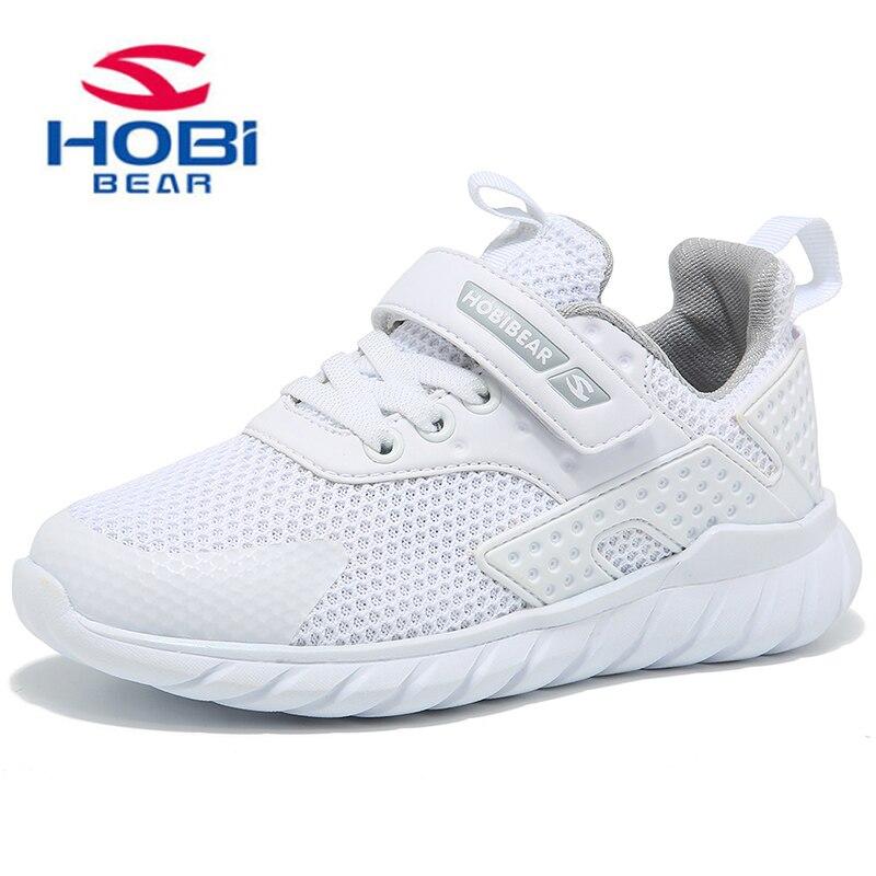 Kids Shoes Mesh Air Sneaker Boys Girls Running Basket Hook Loop Black White Slip on Breathable Walking Sneakers HOBIBEAR H7621 цена
