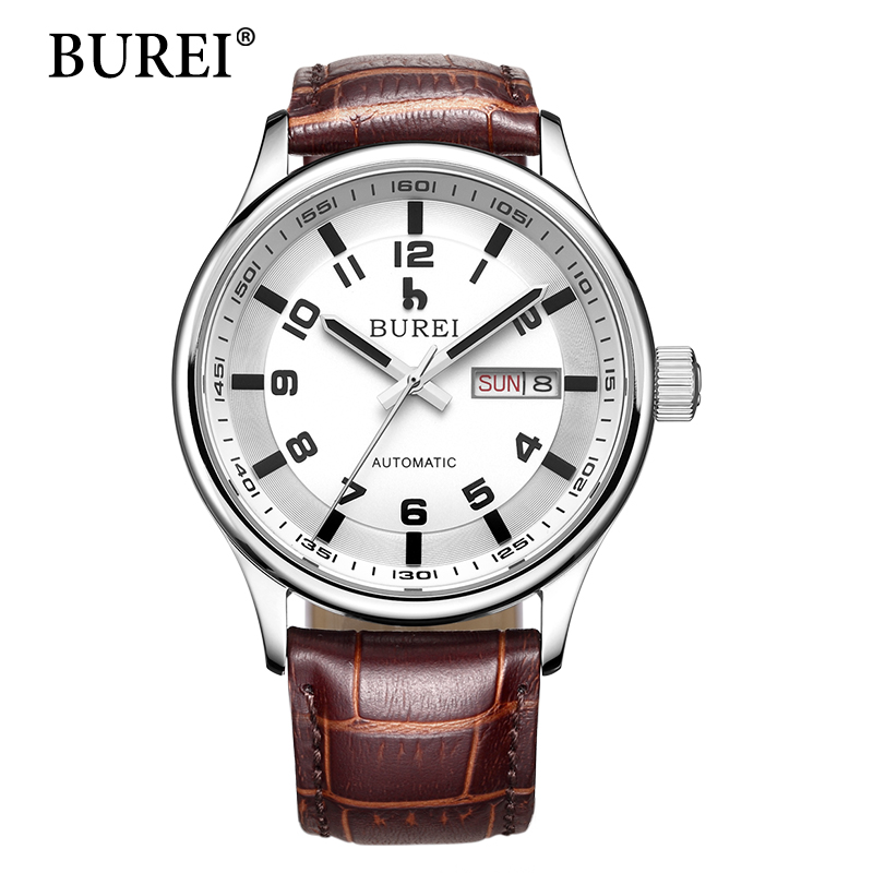 Men Mechanical Watches BUREI Mens Top Brand Luxury Watch Calendar leather Strap Waterproof Automatic Wristwatch Hot Sale Gift