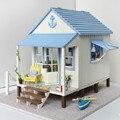 Villa junto al mar diy miniatura 3d casa de madera juguetes para niños de cumpleaños regalo de navidad