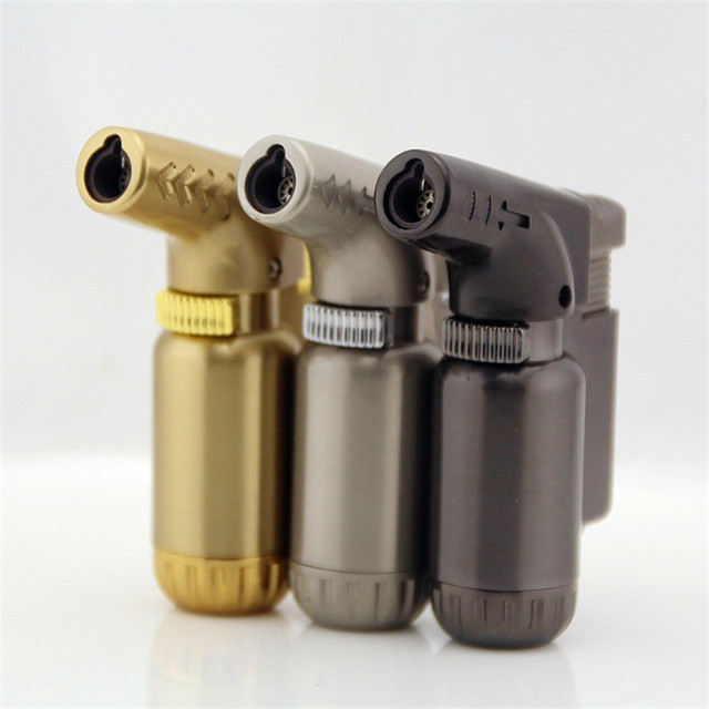 Outdoor Compact Butane Jet Lighter Torch Fire Windproof Portable Spray Gun Metal Lighter 1300 C NO GAS
