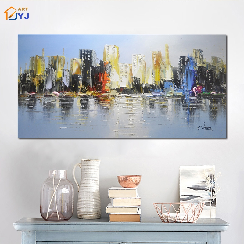 Textured Grey Color City Bay Picture Handmade Modern Abstract Canvas Oil Painting Wall Art for Living Room Decoration SL141