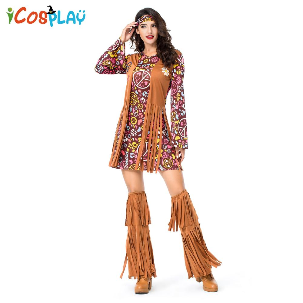 Women's Tassels Hippie Costumes Vintage 1970s 70's Indian Halloween Costumes Dance Performance Holiday