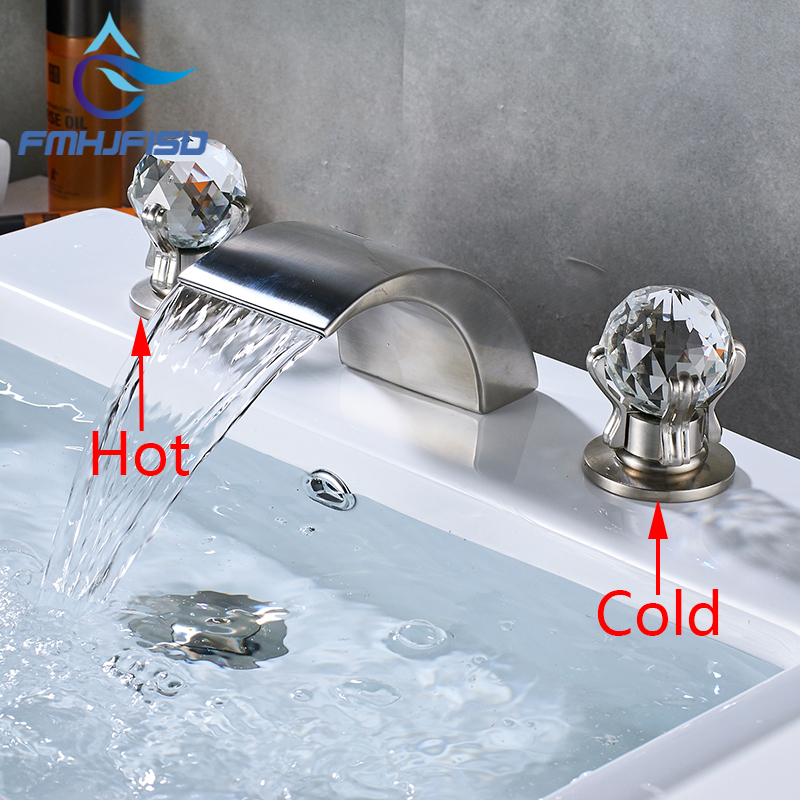Waterfall Basin Faucet Dual Handle Chrome&Gold&Nickel&ORB Bathroom Mixes Hot and Cold Tap anon маска сноубордическая anon somerset pellow gold chrome