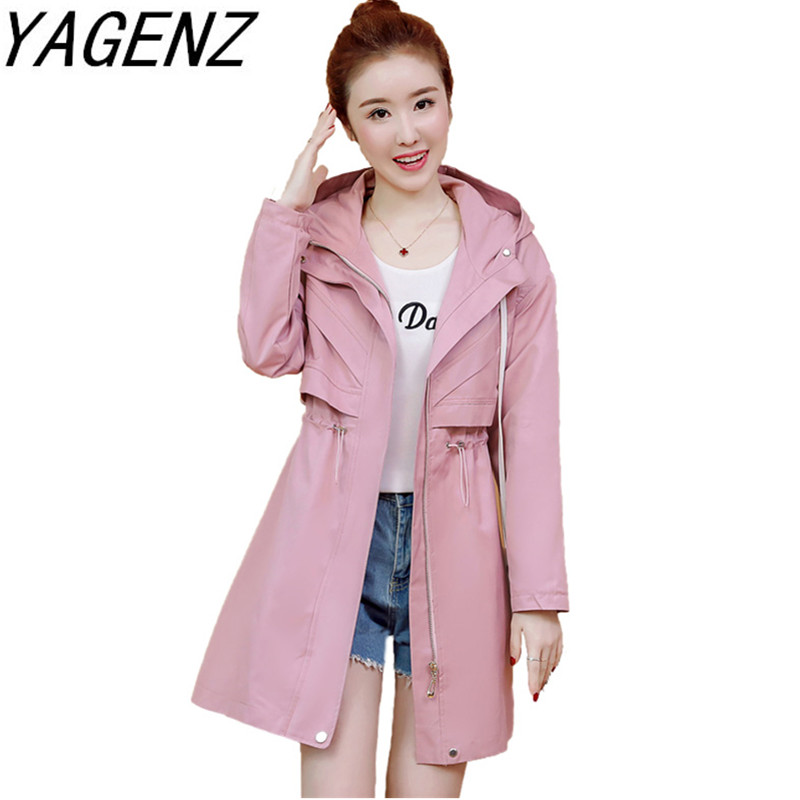 Women's windbreaker coat 2019 casual fashion ladies hooded outerwear loose long sleeve slim spring autumn new female   Trench   coat