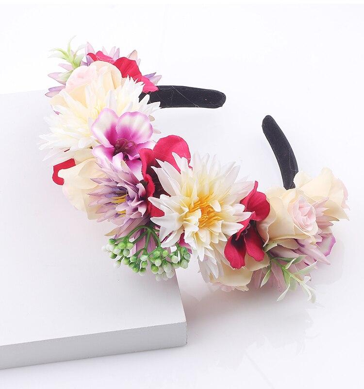 Women Girls Lady Fashion Bow Flower Headband Hairband Wedding Bride Wreath Of Flowers Hair Bands Holder Hoop Hair Accessories Apparel Accessories