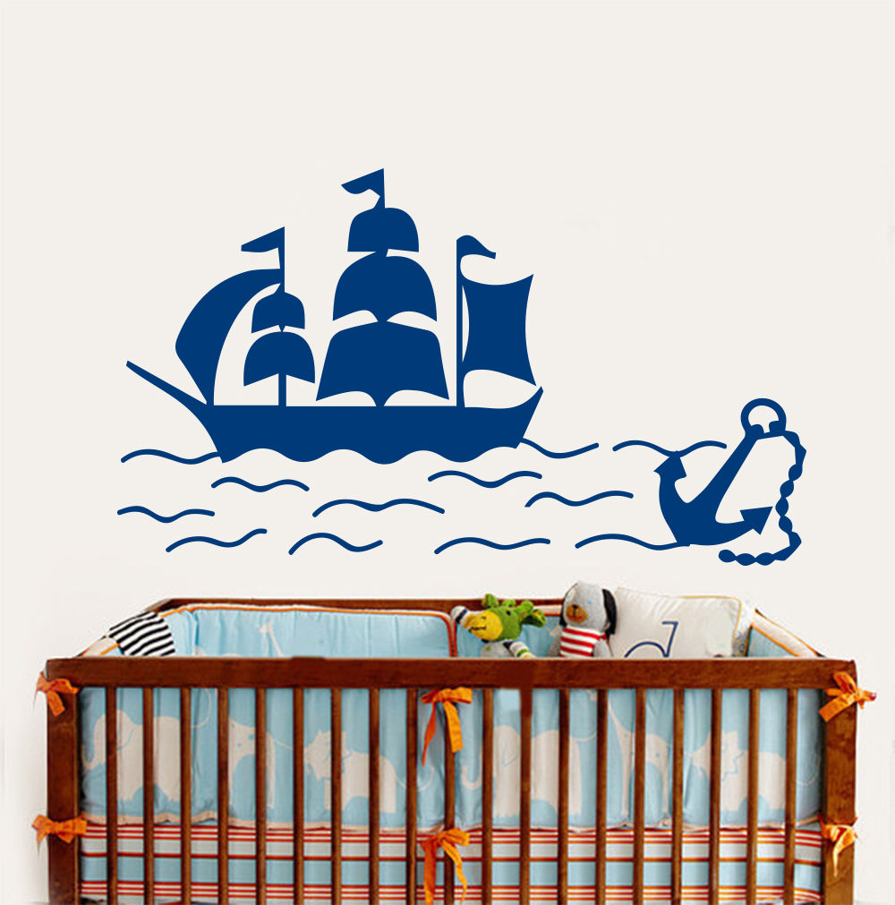 Removable kids nursery room wall sticker ship boat anchor sea removable kids nursery room wall sticker ship boat anchor sea nautical vinyl decals boys bedroom decor sticker a 61 in wall stickers from home garden on amipublicfo Gallery