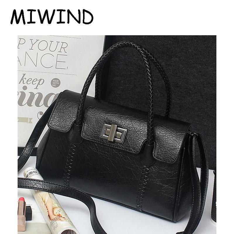 ФОТО Women Weaving Satchels Handbag PU Leather Solid Zipper Interior Cell Phone Pocket Female Casual Shoulder Bag