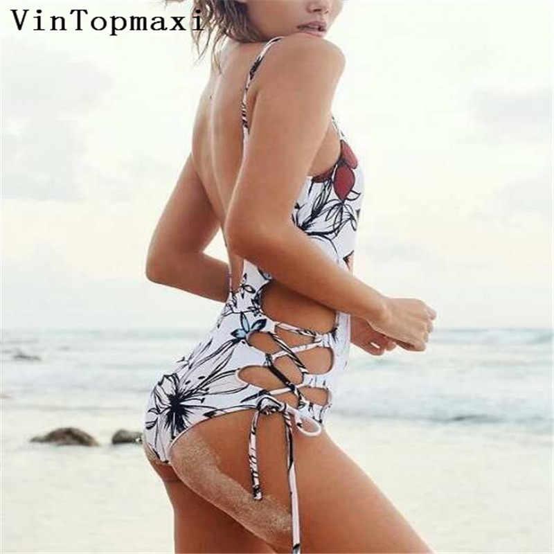 Maillot de bain Sexy une pièce maillot de bain évidé femmes Monokini imprimé body à lacets maillot de bain d'été 2018 Biquini vêtements de plage