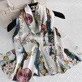 178*55 CM 100% Seda Natural de Luxo Da Marca Mulheres Inverno Cachecol Echarpe Foulard Xales Moeda/Flor Floral Impresso Lenços Bandana S6