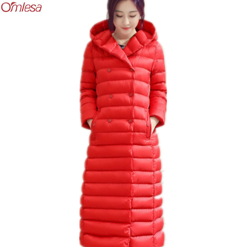 2017 New High Quality White Goose Down Jacket Long Warm Jackets Women Over Knee Length Coat With Belt Hooded Parkas L0031