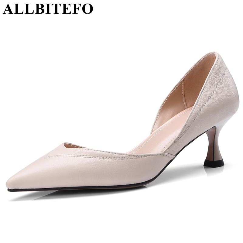 ALLBITEFO fashion genuine leather woman shoes high heel shoes pointed toe sexy ladies office formal early