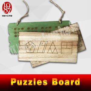 Image 5 - Quebra cabeças de madeira para escapar, vida real, adereço, placa de madeira, resolver o quebra cabeça para obter as pistas, número, plugue fios adereços jxkj1987