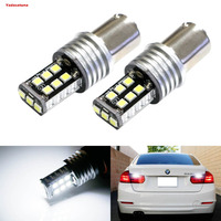 2Pcs Super Bright 10W 15SMD P21W 7506 LED Replacement Bulbs For Audi BMW Mercedes Volkswagen Backup