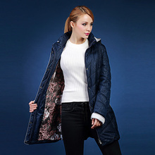 Beautiful multicolor autumn and winter lining flower medium-long with a hood thick cotton-padded jacket plus size 48-58 V307