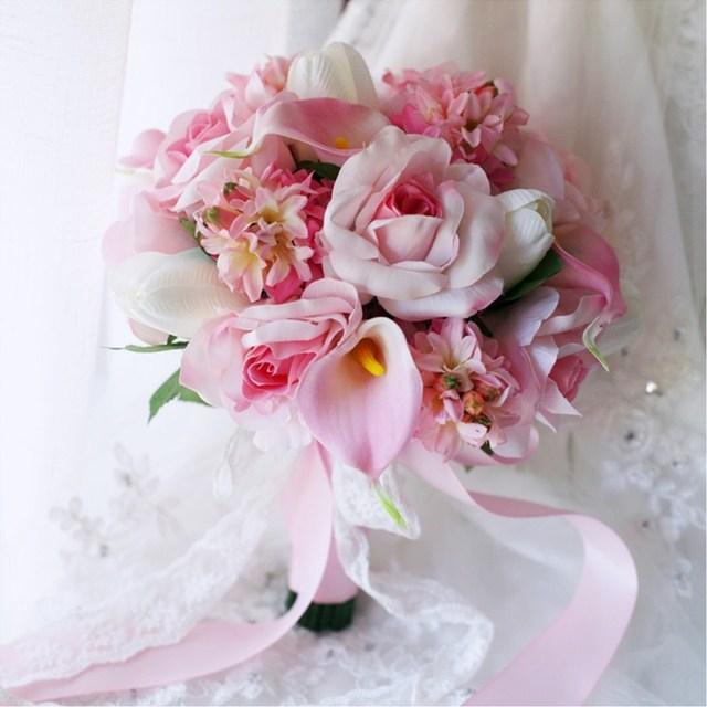 Romántico Rosa Tulipán Broche Ramo de Novia Que Sostiene 2017 Jacinto Calla Lily Rose Country Artificial Decoración de La Boda Las Damas de Honor