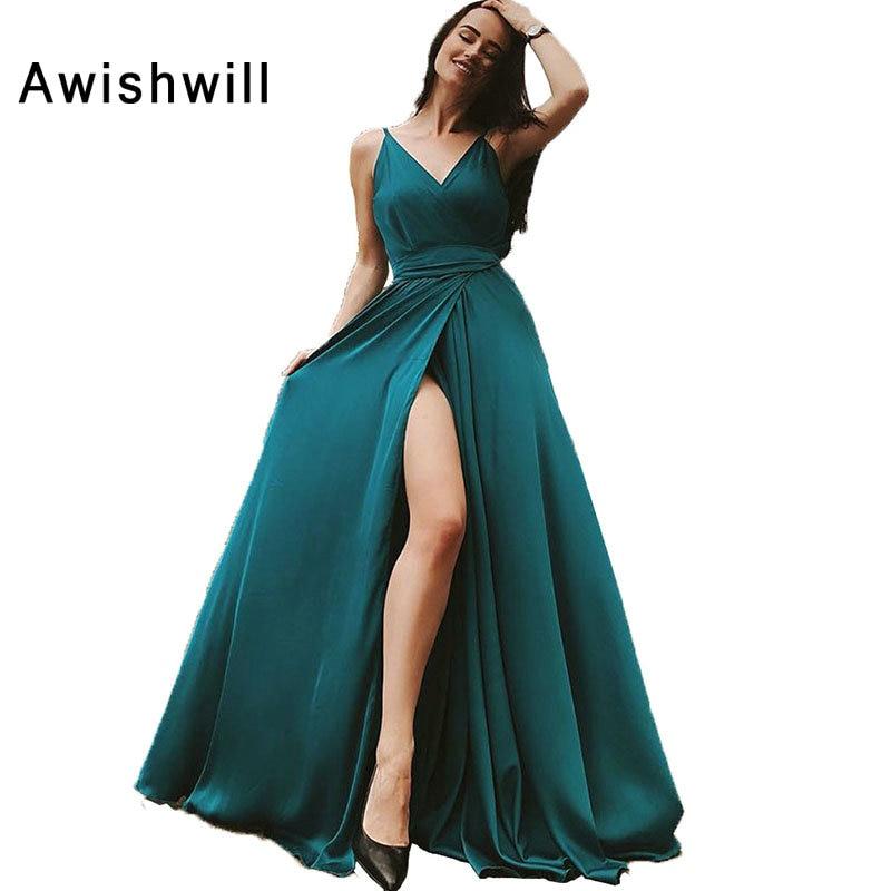 Elegant Long Prom Dress V neck A Line Sleeveless Floor Length Front High Slit Sexy Evening