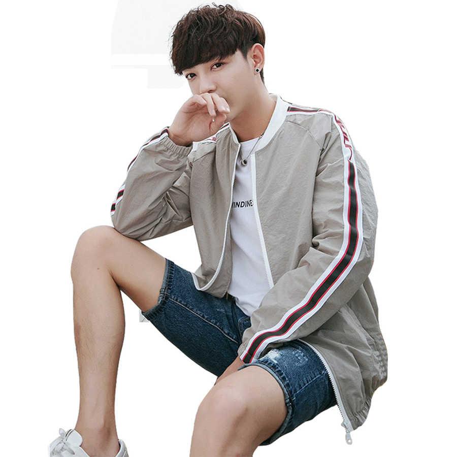 Beyaz Yaz Ceket Erkekler Rahat Ceket Slim Fit Hoodie Fermuar Ceketler Erkekler Streetwear Japon Eşofman Japon Bombacı 50J0180