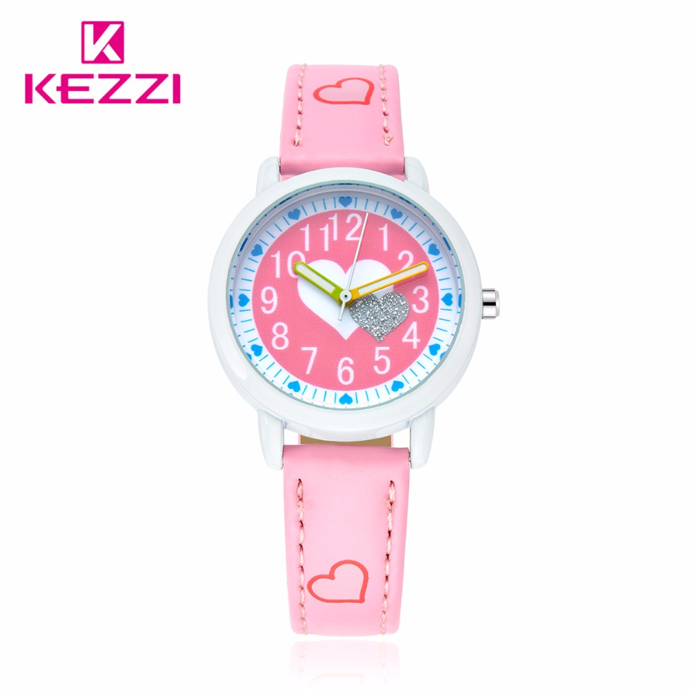 KEZZI New Children Fashion Casual Watch Girl Cute Love Color Pattern Sweet Style Quartz Wristwatch Popular