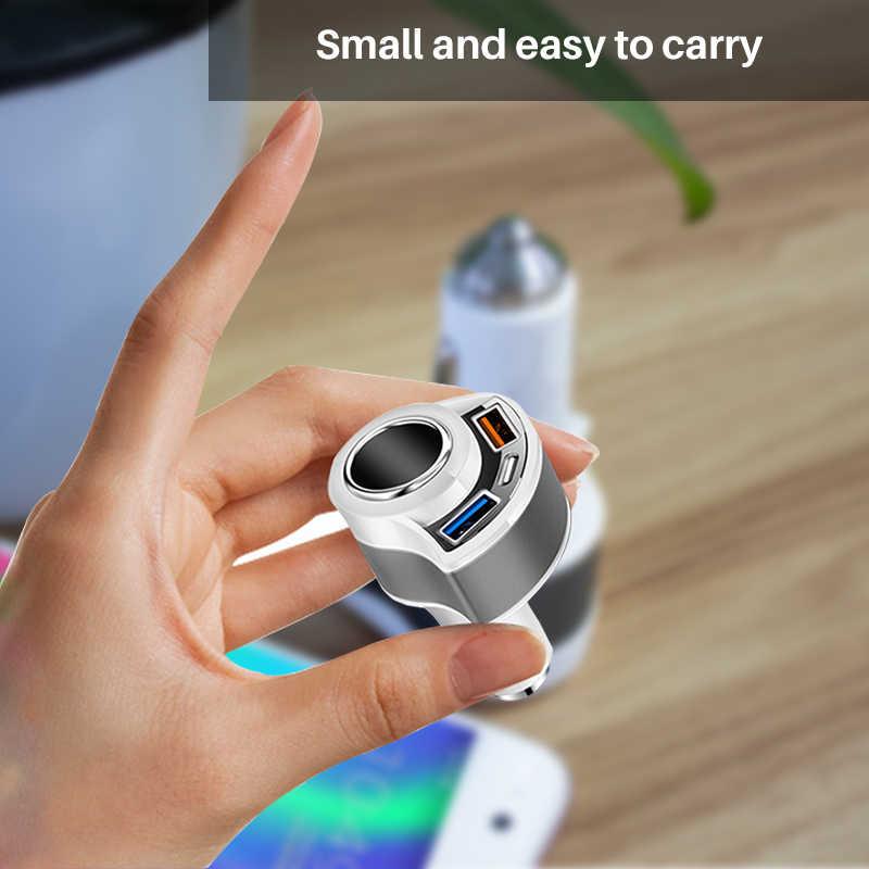 Cargador de coche QC3.0 cargador USB de carga rápida tipo C teléfono móvil 3 puertos adaptador de cargador Universal inteligente para Samsung Xiaomi iphone