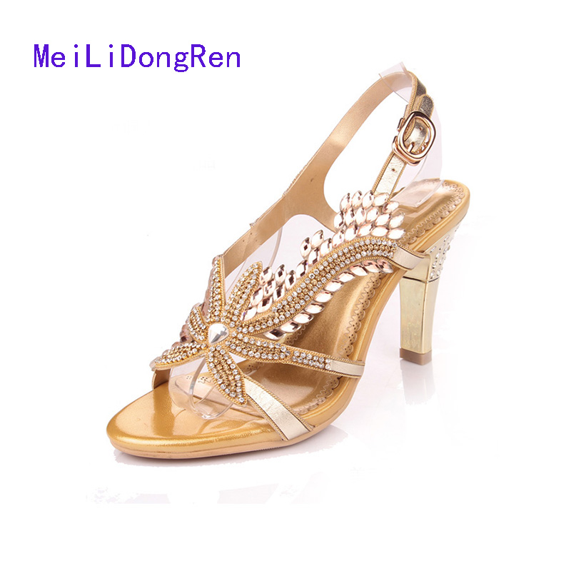 Summer Sandals Women High-heeled Diamond Sandals Rhinestone Princess Shoes Large Size 40 41 Small Size 33 34 Gold Wedding Shoes 2015 summer women s high heeled shoes fish head shoes korea princess waterproof fine with sexy high heeled sandals
