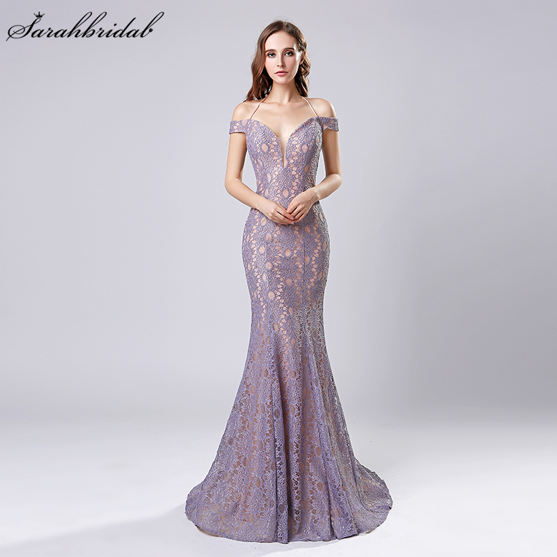 90a599456dbe5 US $89.9 |Robe De Soiree New Arrivals Mermaid Dubai Long Evening Dresses  Lilac/Black/Red Whole Halter Whole Lace Prom Dresses LSX575-in Evening ...