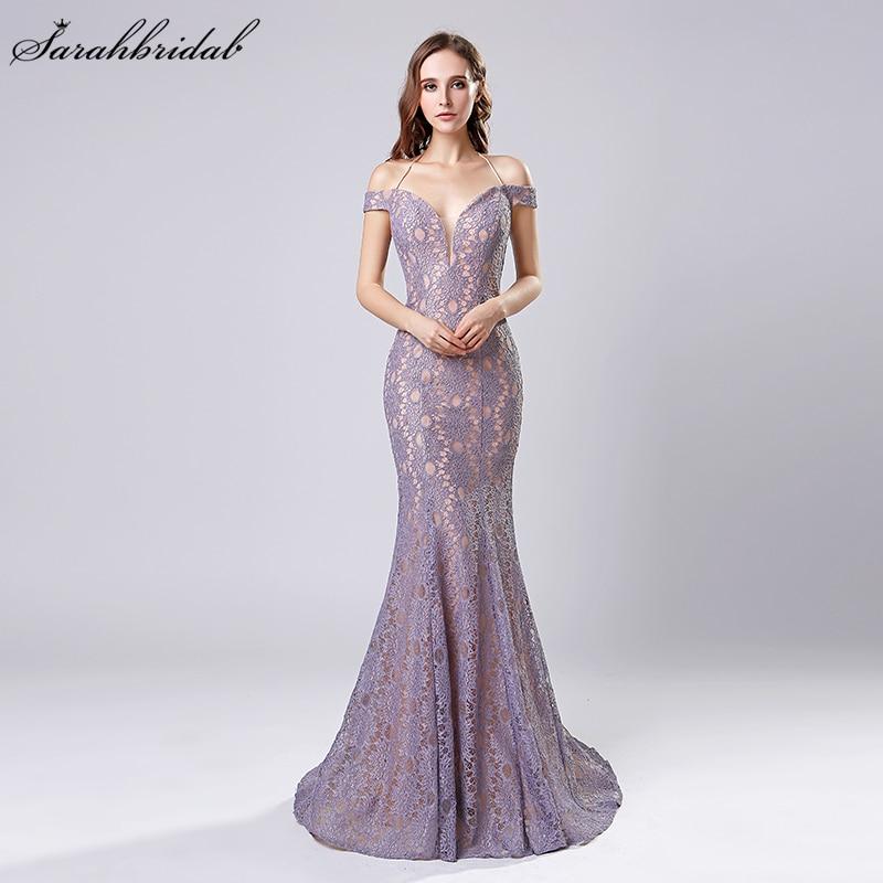 Robe De Soiree New Arrivals Mermaid Dubai Long   Evening     Dresses   Lilac/Black/Red Whole Halter Whole Lace Prom   Dresses   LSX575