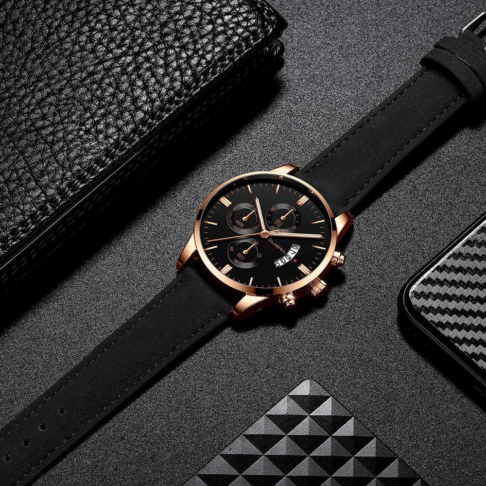Мужские наручные часы спортивные из нержавеющей стали кожаный ремешок кварцевые аналоговые часы мужские часы s 2019 relogio masculino