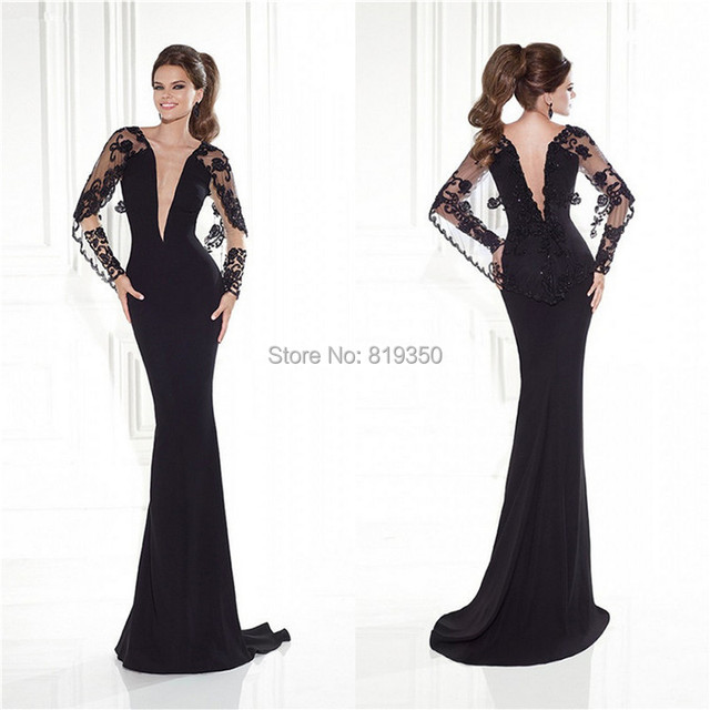 e7b83bc216 Elegant Evening Dress 2015 Plunging Neckline With Lace Black Backless Full  Sleeves Sheath Formal Gown Long Sexy Prom Gowns