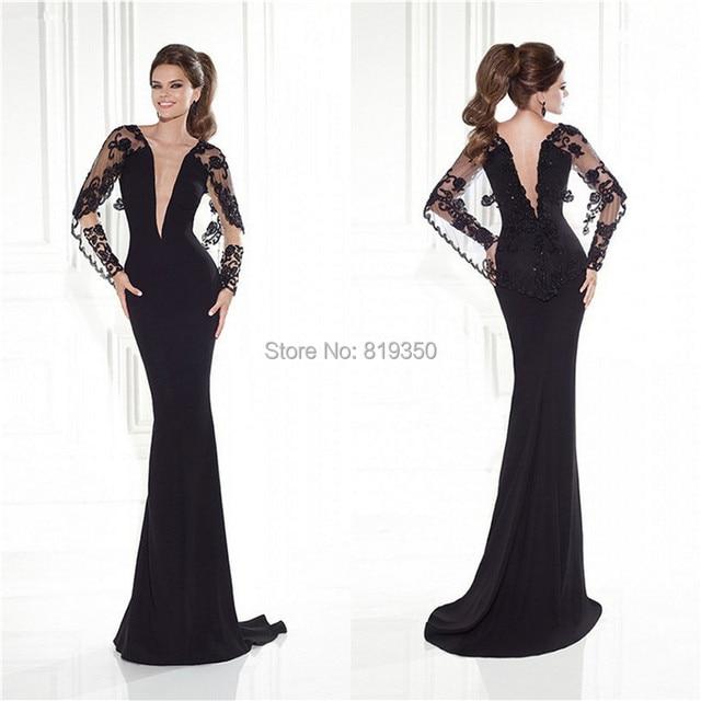 Elegant Evening Dress 2015 Plunging Neckline With Lace Black