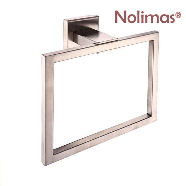 european style toliet towel ring wall mounted square shaped towel holder chrome brushed towel bar bathroom - Square Bathroom Accessories Chrome