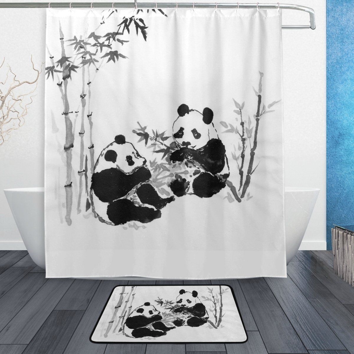 Panda Bamboo Shower Curtain and Mat Set, Chinese Painting Art Waterproof Fabric Bathroom Curtain
