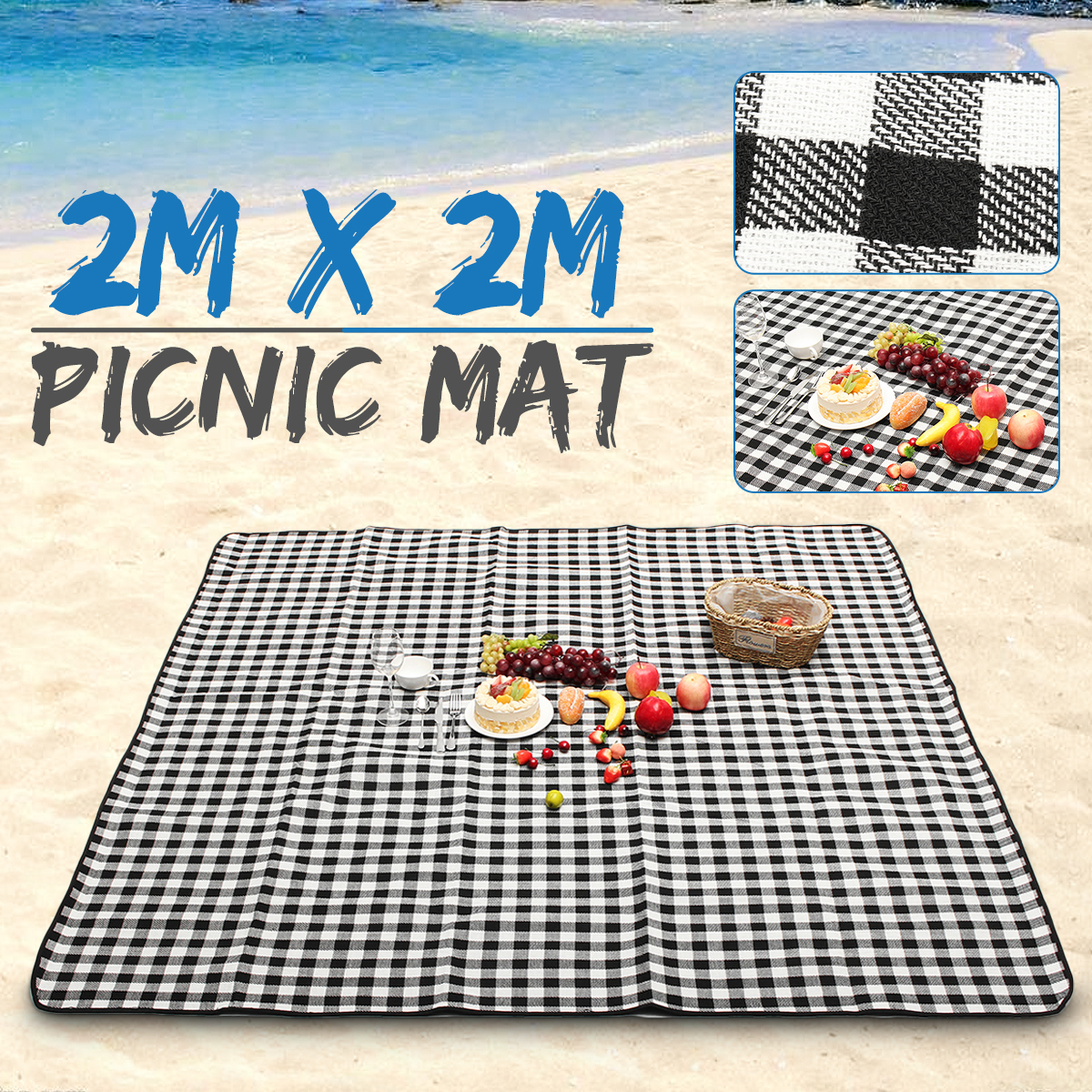 Waterproof Picnic Blanket 200X200cm Large Washable Black Rug Mat Camping Travel Outdoor Home Play Mat fondovalle rug home inserto rosone 60x60