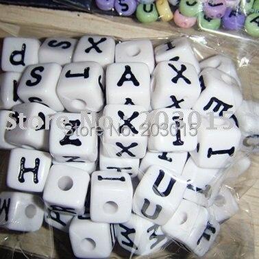 DHL 720 шт Белый 12 мм белый Акриловый Алфавит бусины-кубики с буквами для DIY детские соски ремесла цепи