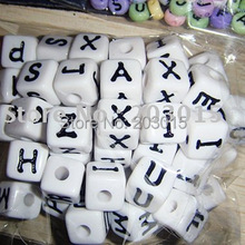 DHL 720pcs white 12mm White Acrylic Alphabet Cube Letter Beads for DIY Baby Pacifier Crafts Chain