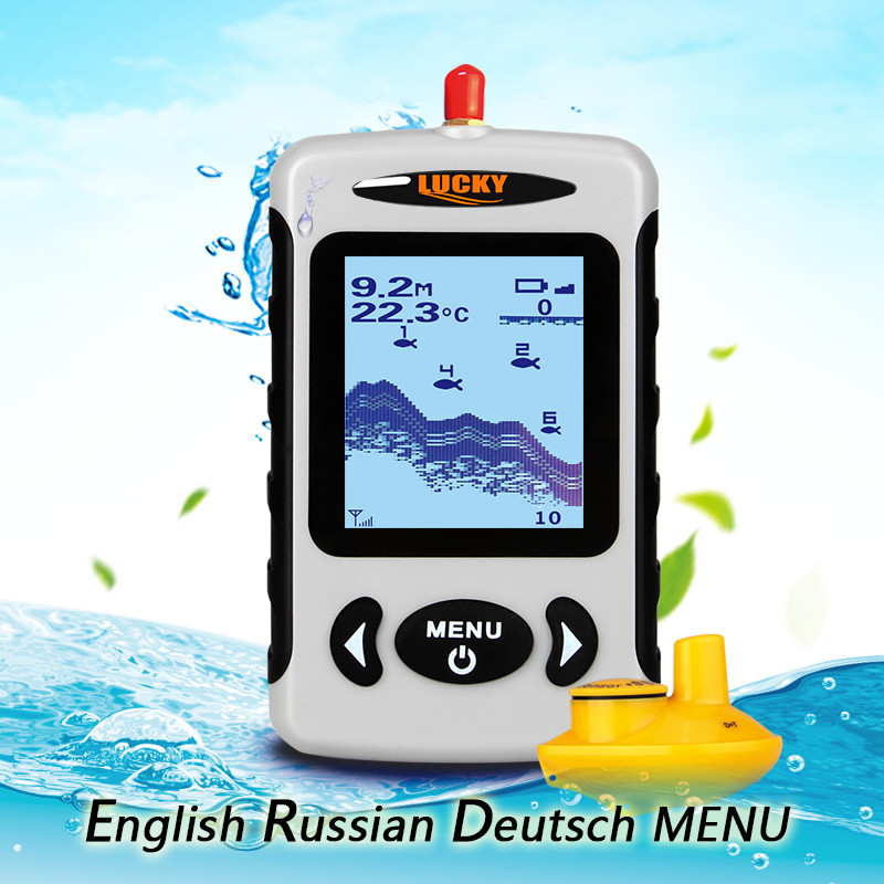 Russian Deutsch English Language Wireless Sonar Fish Finder Sensor Echo Sounder Alarm River Lake Sea Bed Fishing 135ft/45M Lucky lucky fishing sonar wireless wifi fish finder 50m130ft sea fish detect finder for ios android wi fi fish finder ff916
