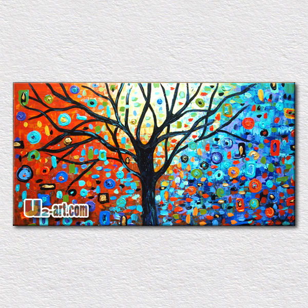 Colorful trees artwork painted on canvas palette font b knife b font oil painting plants for