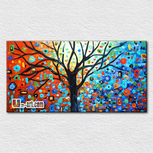 Colorful trees artwork painted on canvas palette knife oil painting plants for kids room wall decoration   50cmx100cm