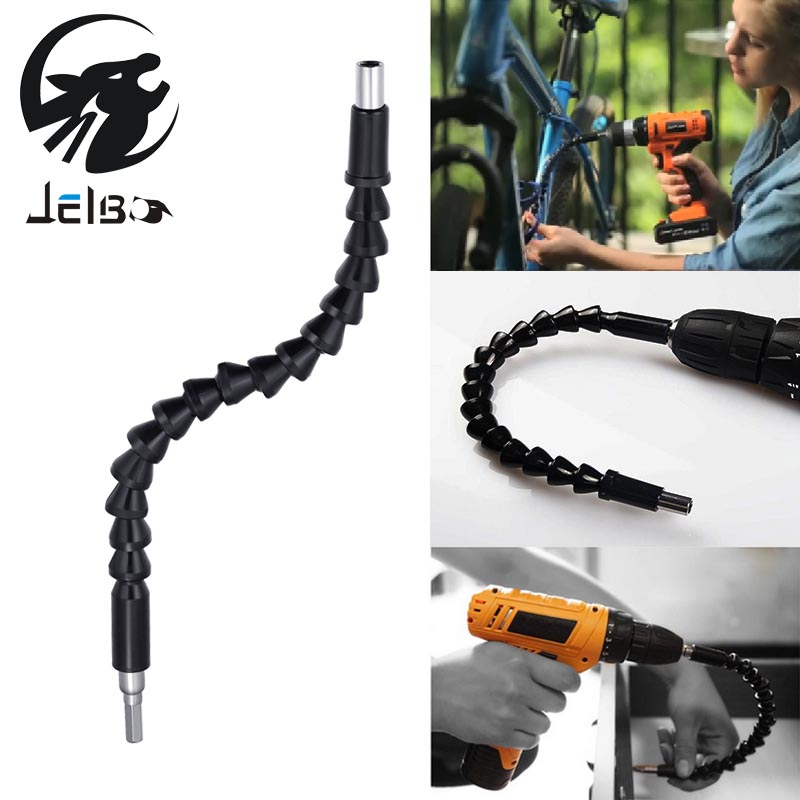 Jelbo 290mm Electric Drill Power Tool Flexible Shaft Telescopic Screwdriver Drill Pipe Connect Tube Shaft Bits Drill Guide
