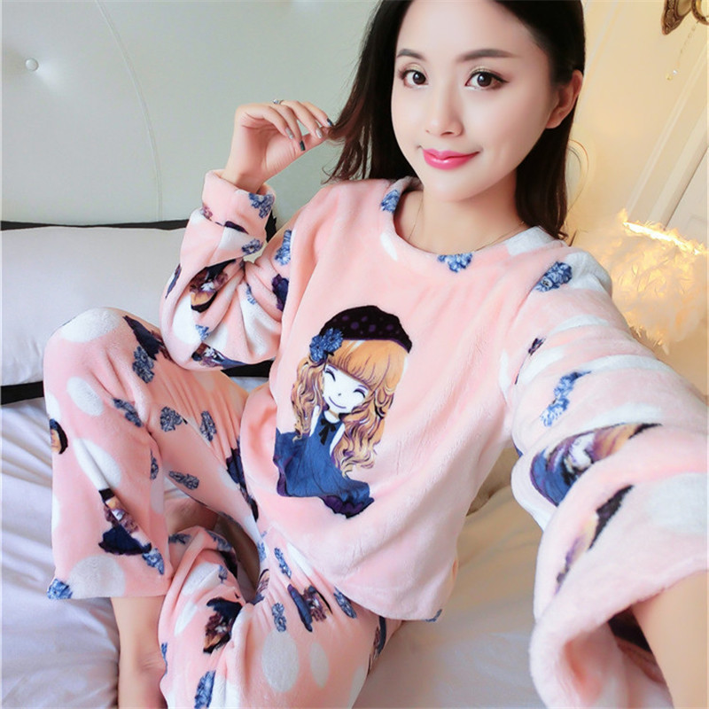 Autumn and Winter   Pajama     Sets   Cartoon Sleepwear Women   Pajama   Warm Velvet Suit Flannel Animal Pants Sleepwear