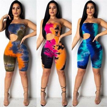 New Strapless Off Shoulder Jumpsuit Women Tie Dyeing Sexy Bandeau Bodysuit Jumpsuits Rompers 2019 Summer Colorful Holes Bodysuit 1