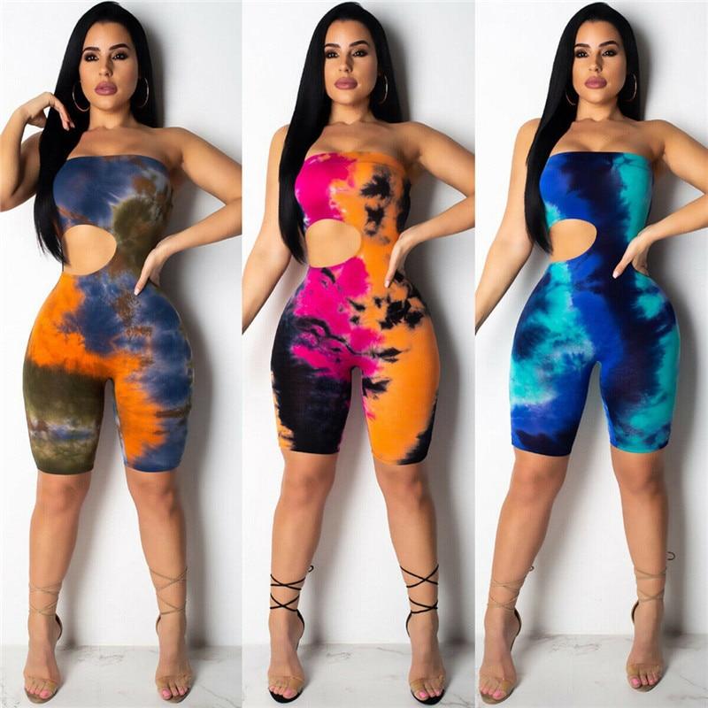 New Strapless Off Shoulder Jumpsuit Women Tie Dyeing Sexy Bandeau Bodysuit Jumpsuits Rompers 2019 Summer Colorful Holes Bodysuit