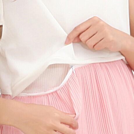 d422c3b59d9 Green Pink Maternity Breastfeeding Dress for Pregnant Women Summer Dresses  Postpregnancy Breast Feeding Dress Chiffon Wholesale-in Dresses from Mother  ...