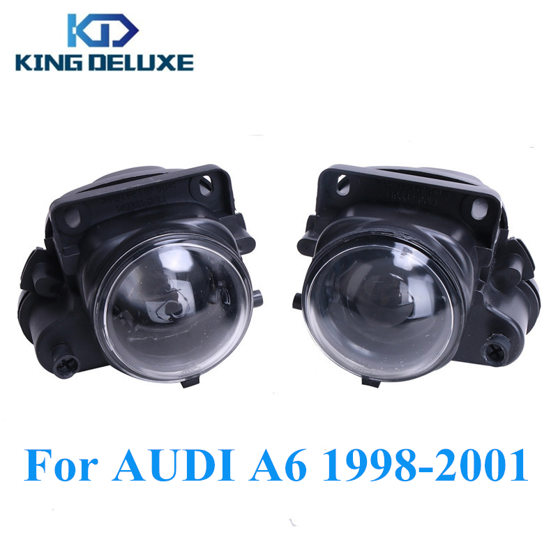 Left + Right Car Front Bumper Fog Light Foglamp with Bulbs H3 For Audi A6 Quattro Base Sedan 1998 1999 2000 2001 #P298 front bumper fog light with 12v 55w 9006 bulbs for vw passat b6 3c 2006 2011 left right oem 3c0941699b 700b 992