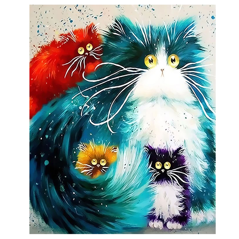 DIY Oil Painting Numbers Abstract Acrylic Paint Animal ...